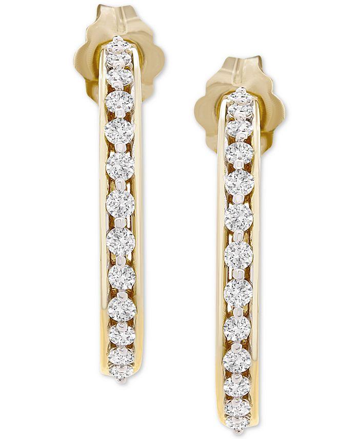 """Macy's - Diamond Small Hoop Earrings (1/4 ct. t.w.) in 10k Gold, .71"""""""