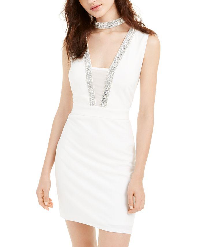 bebe - Juniors' Embellished Choker Bodycon Dress