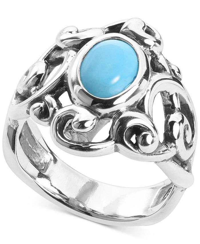 Carolyn Pollack - Turquoise Openwork Filigree Statement Ring in Sterling Silver
