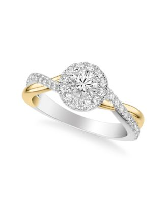 Diamond Halo Bridal Set (1 ct. t.w.) in 14k White & Yellow Gold or White & Rose Gold