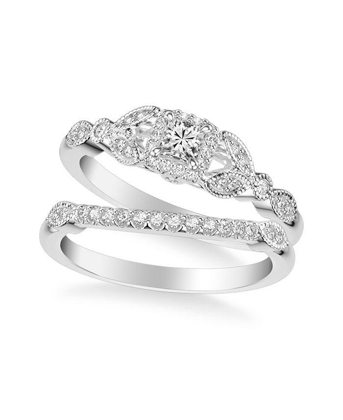 Macy's - Diamond Princess Bridal Set (1/2 ct. t.w.) in 14k White, Rose or Yellow Gold