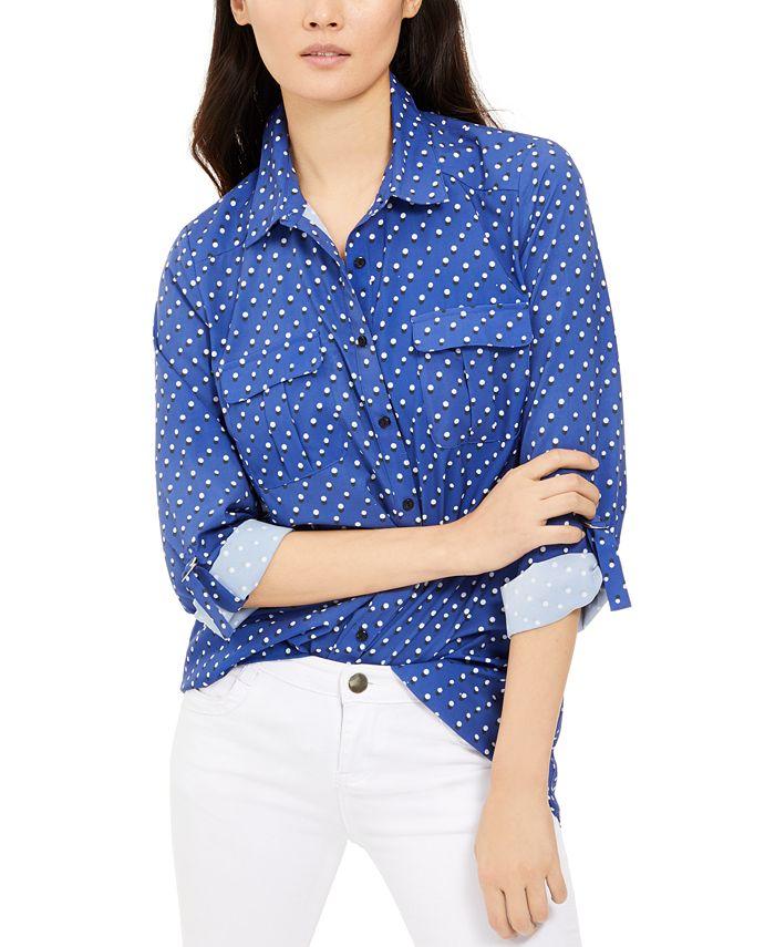 NY Collection - Petite Polka Dot Button-Down Shirt