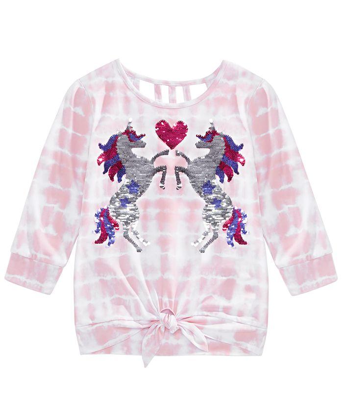 Beautees - Big Girls Tie-Dyed Unicorn Top