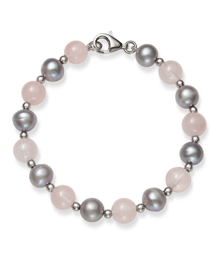 """Macy's - Gray Cultured Freshwater Pearl 7.5-8.5mm and Rose Quartz 8mm 7.5"""" Bracelet in Sterling Silver"""