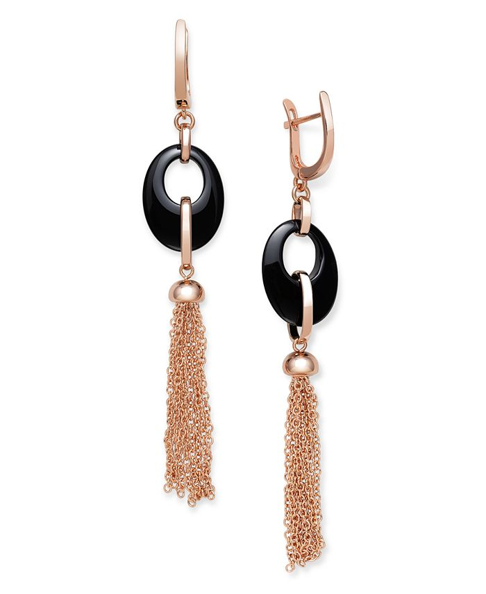 Macy's - Black Onyx 20x15mm Dangle Earrings in Rose Gold over Silver