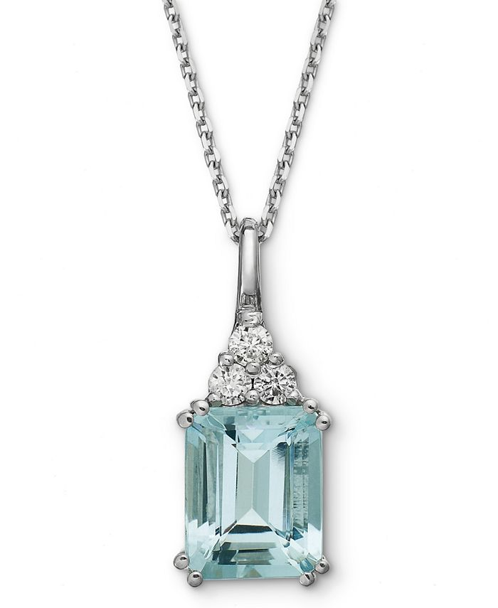 Macy's - 14k White Gold Necklace, Aquamarine (3-1/5 ct. t.w.) and Diamond (1/5 ct. t.w.) Pendant