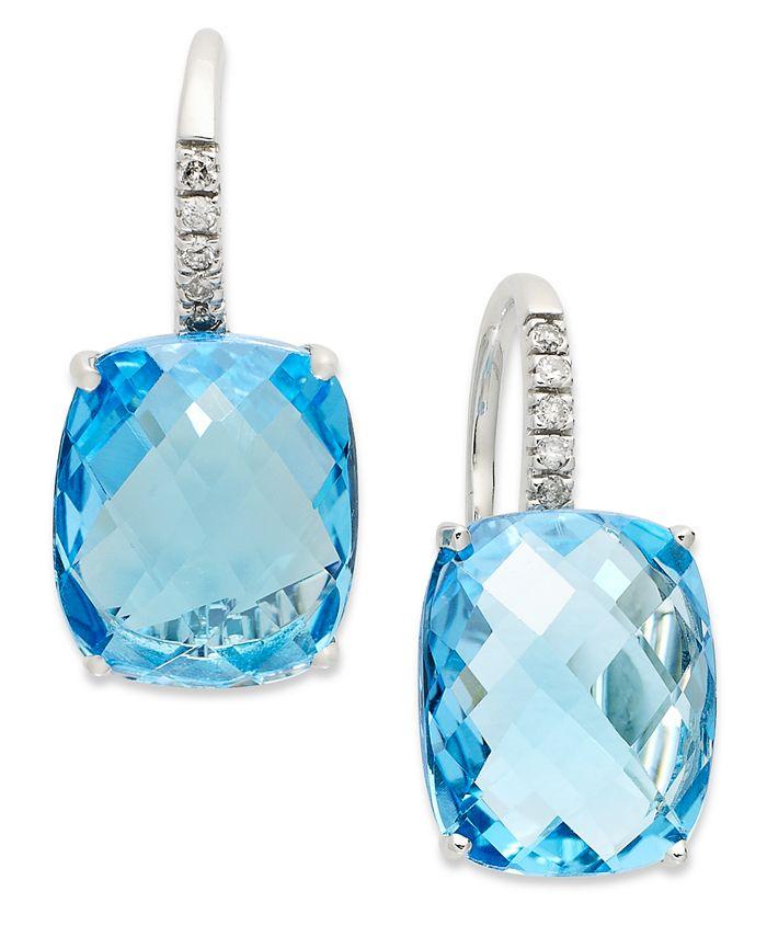 Macy's - 14k White Gold Earrings, Blue Topaz (16 ct. t.w.) and Diamond Leverback Earrings