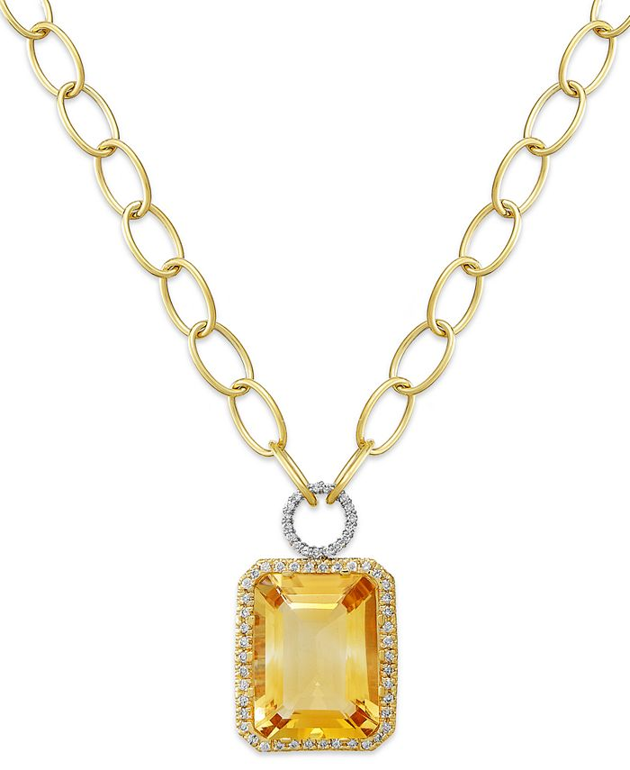 Macy's - 14k Gold Necklace, Citrine (22 ct. t.w.) and Diamond (5/8 ct. t.w.) Rectangle Pendant