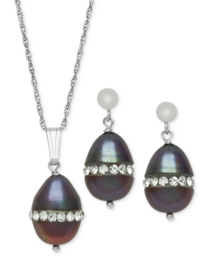 Sterling Silver Necklace and Earring Set, Black Cultured Freshwater Pearl (8mm) and Crystal Pendant and Earring Set