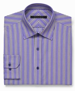 Sean John Dress Shirt Purple MultiStripe LongSleeved Shirt