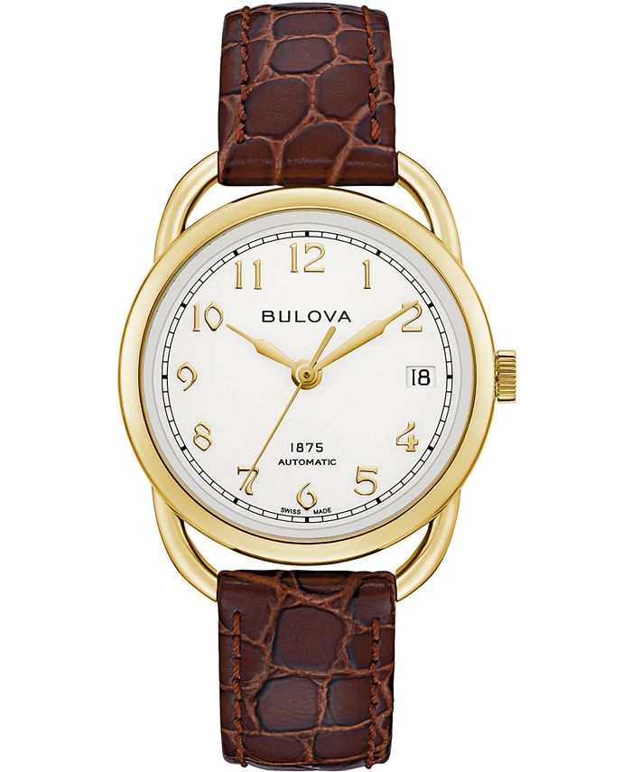 Bulova - Women's Swiss Automatic Joseph Brown Leather Strap Watch 34.5mm