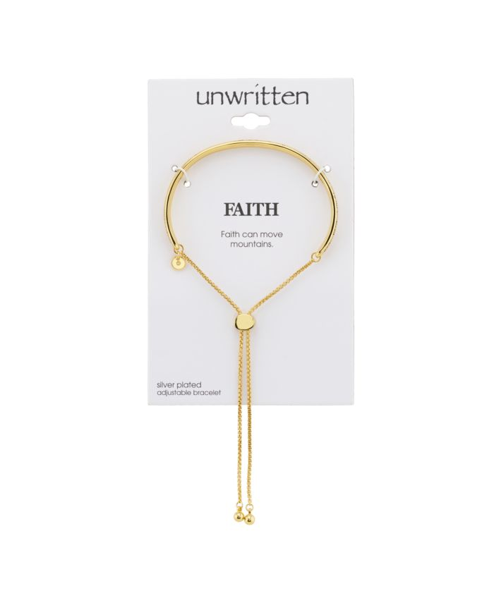"""Unwritten """"Faith"""" Gold Tone Fine Plated Silver Adjustable Bolo Bracelet & Reviews - Bracelets - Jewelry & Watches - Macy's"""