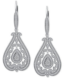 Diamond Filigree Teardrop Drop Earrings (1/2 ct. t.w.) in Sterling Silver