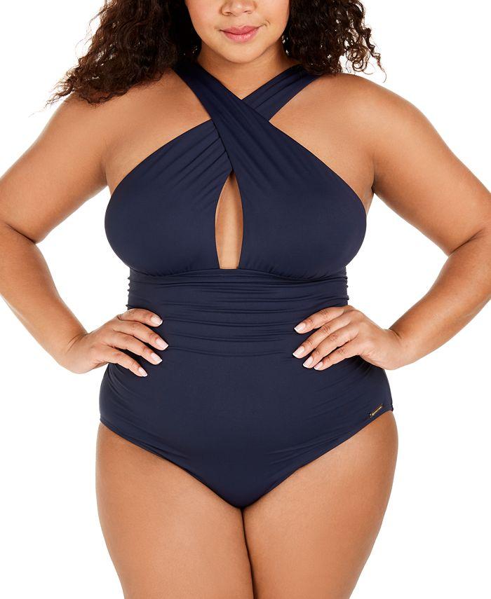 Michael Kors - Plus Size High-Neck Keyhole One-Piece Swimsuit