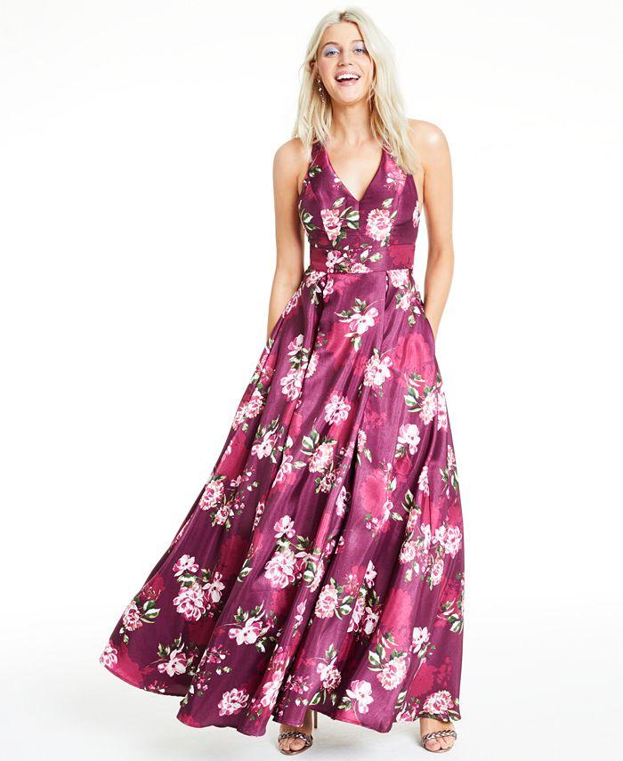 City Studios - Juniors' Floral-Print Bow-Back Gown