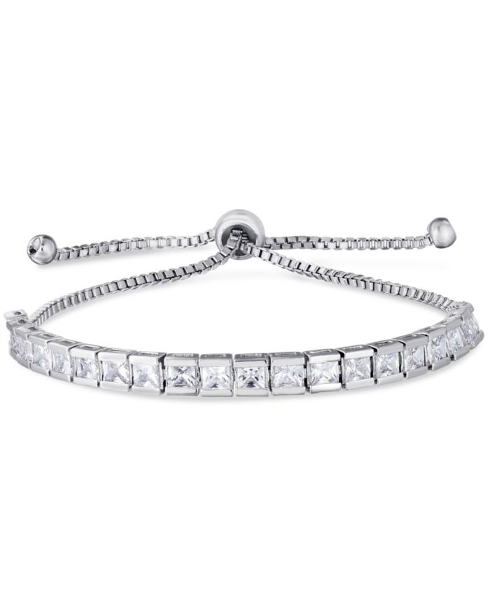 Macy's Cubic Zirconia Rounds Adjustable Slider Bolo Bracelet in Fine Silver Plate & Reviews - Bracelets - Jewelry & Watches - Macy's