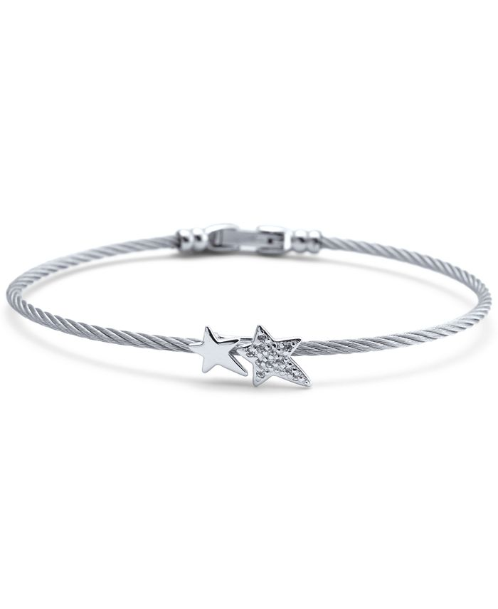 CHARRIOL - White Topaz Double Star Cable Bracelet (1/10 ct. t.w.) in Sterling Silver & Stainless Steel
