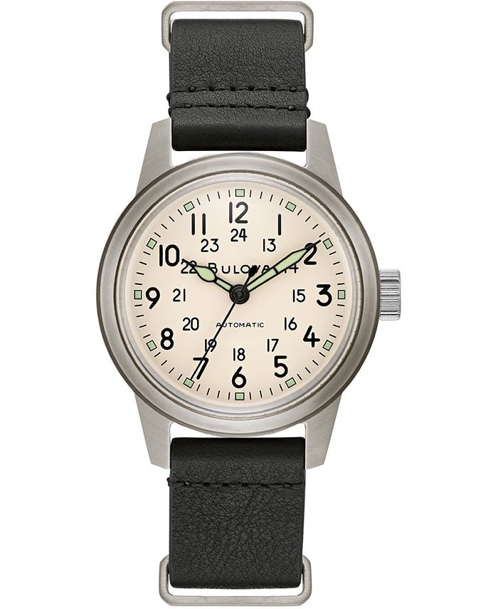 Bulova - Men's Automatic Military Black Leather Strap Watch 38mm