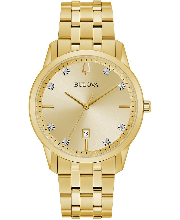 Bulova - Men's Sutton Diamond-Accent Gold-Tone Stainless Steel Bracelet Watch 40mm