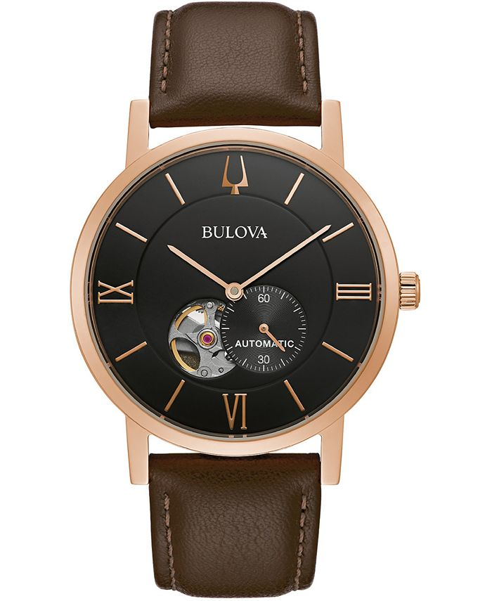 Bulova - Women's Automatic Clipper Brown Leather Strap Watch 42mm