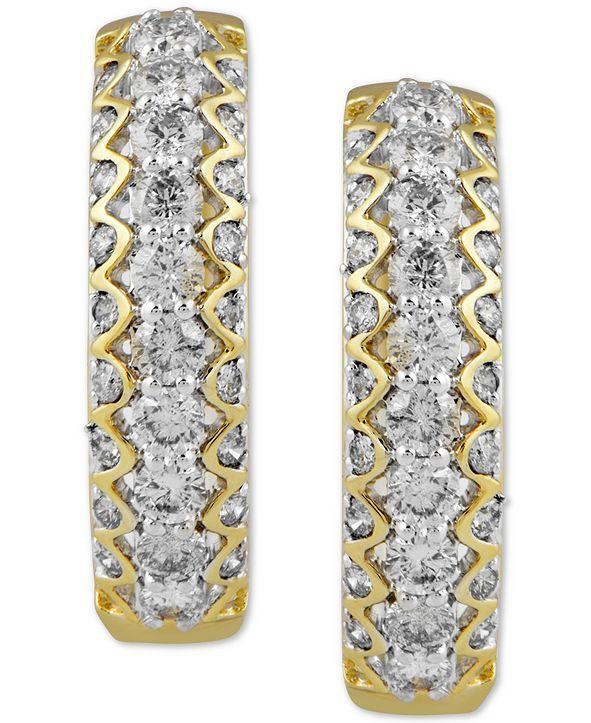 Macy's Diamond Small Hoop Earrings (2 ct. t.w.) in 10k Gold