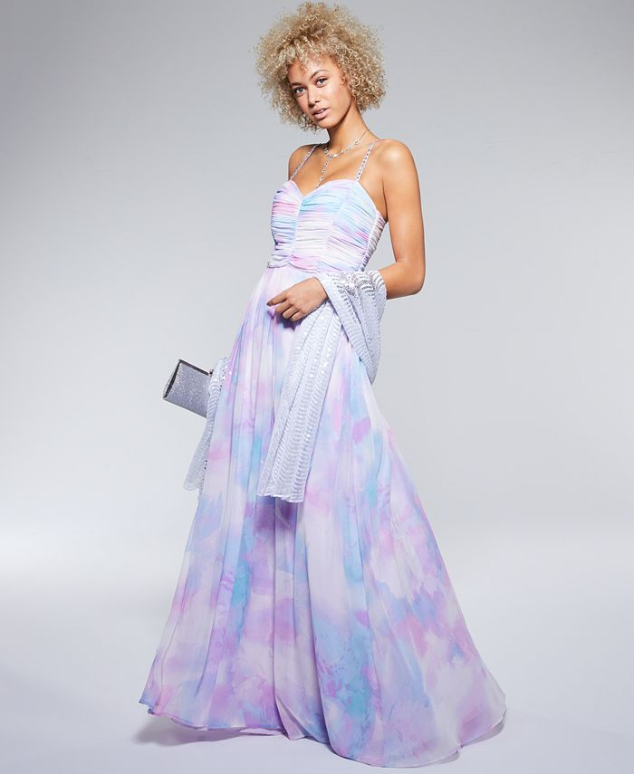Trixxi - Juniors' Embellished-Strap Tie-Dye Printed Gown