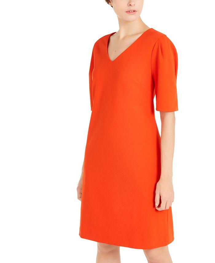 Alfani - V-Neck Puff-Sleeve A-Line Dress