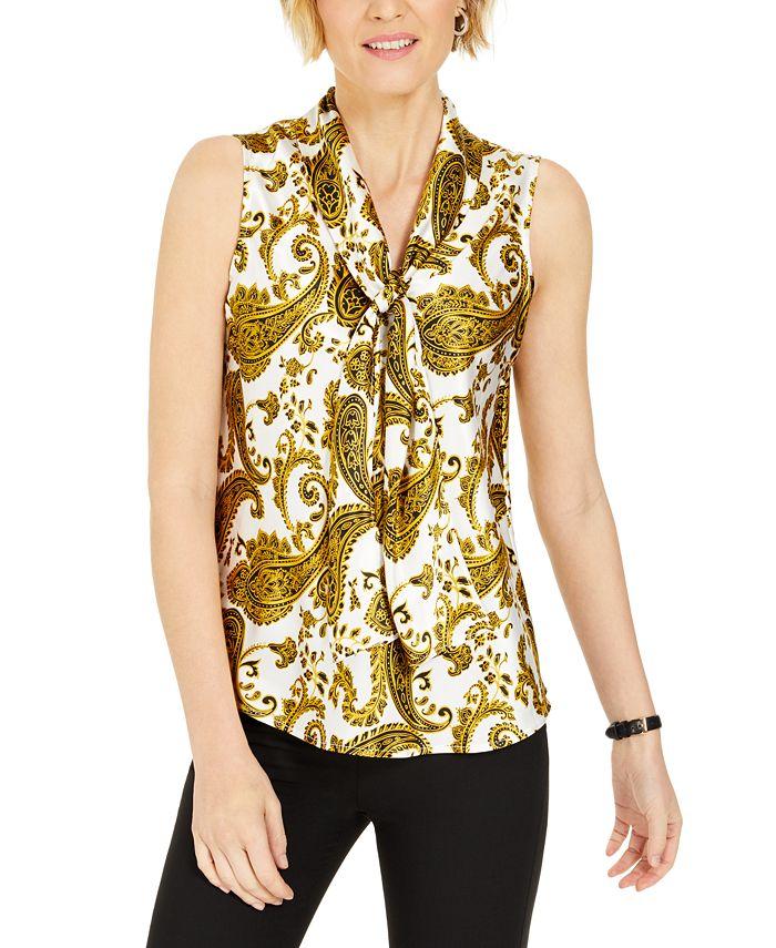 Kasper - Paisley-Print Tie-Neck Top