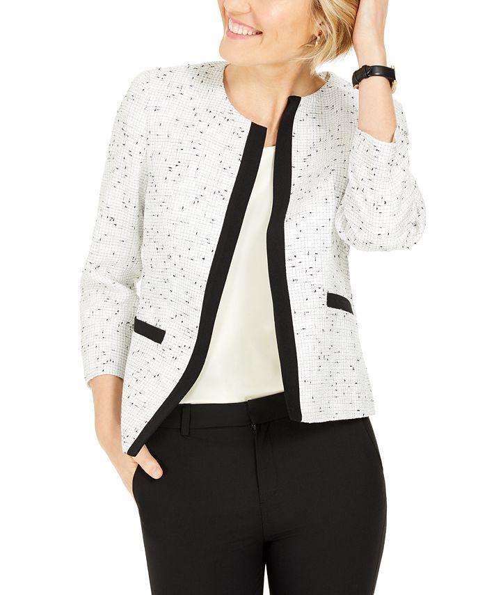 Kasper - Contrast-Trim Tweed Jacket