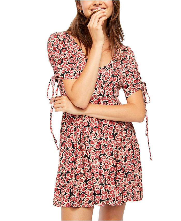 Free People - Printed Lace-Up Mini Dress