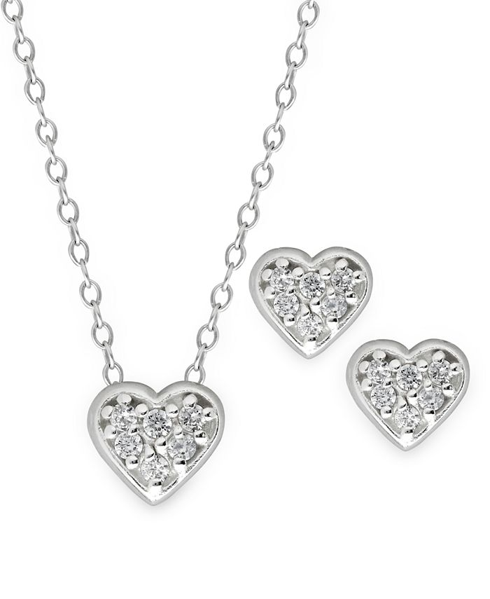 Rhona Sutton - Children's Crystal Heart Pendant Necklace Stud Earrings Set in Sterling Silver