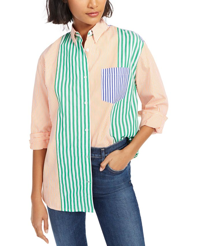 French Connection - Adisa Striped Colorblocked Shirt