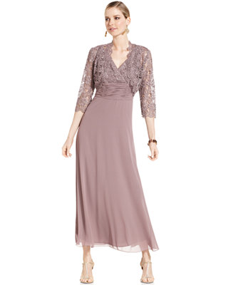 Patra Petite Dress And Jacket Sleeveless Lace Gown