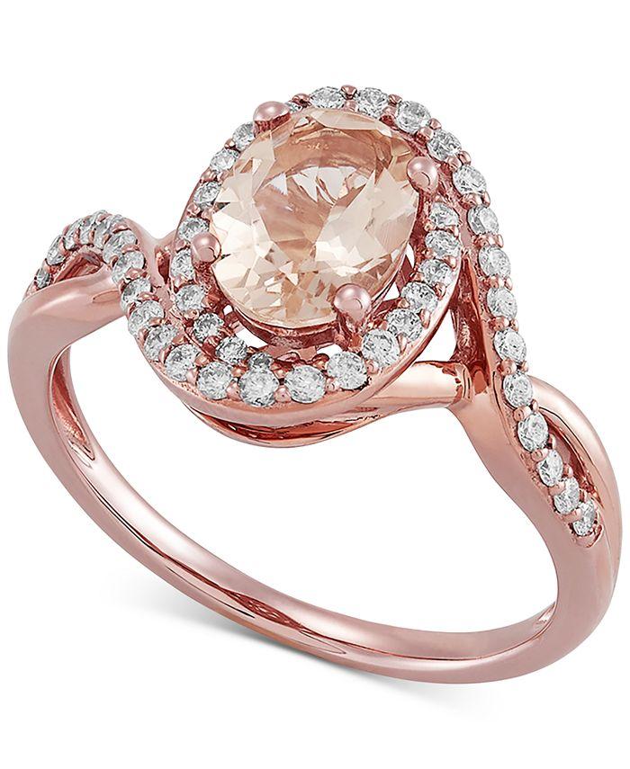 Macy's - Morganite (1-1/20 ct. t.w.) & Diamond (1/3 ct. t.w.) Ring in 10k Rose Gold