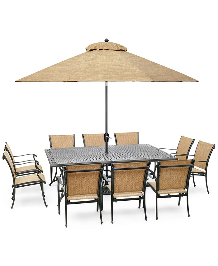 "Furniture - Beachmont II Outdoor 11-Pc. Dining Set (84"" x 60"" Dining Table and 10 Dining Chairs)"