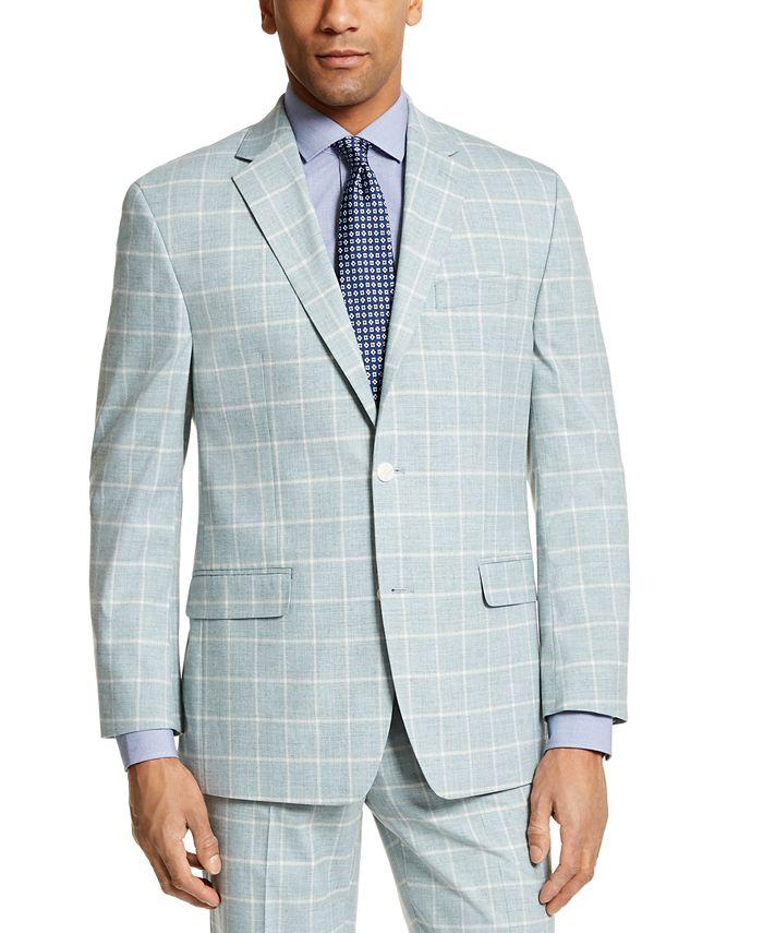 Sean John - Men's Classic-Fit Green Windowpane Suit Separate Jacket