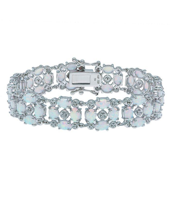 Macy's - Opal (12-1/2 ct. t.w) and White Topaz (1/2 ct. t.w) Tennis Bracelet in Sterling Silver