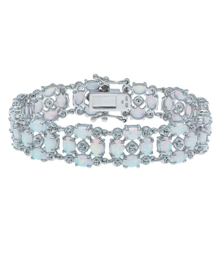 Macy's Opal (12-1/2 ct. t.w) and White Topaz (1/2 ct. t.w) Tennis Bracelet in Sterling Silver & Reviews - Bracelets - Jewelry & Watches - Macy's