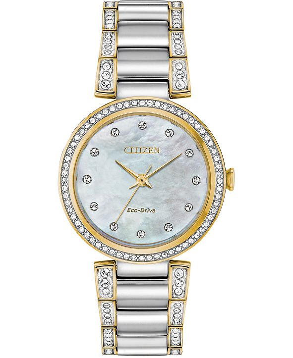 Citizen Eco-Drive Women's Silhouette Crystal Two-Tone Stainless Steel Bracelet Watch 28mm