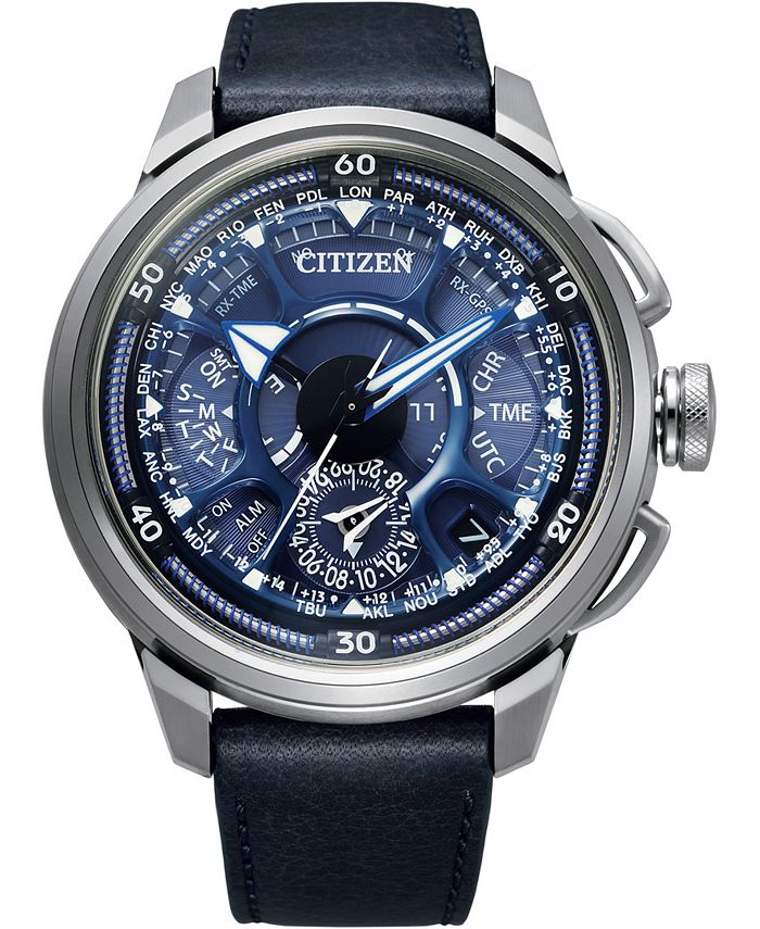 Citizen - Men's Chronograph Satellite Wave F900 Blue Leather Strap Watch 49mm