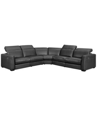 Novara Leather 6 Piece Power Reclining Sectional Sofa