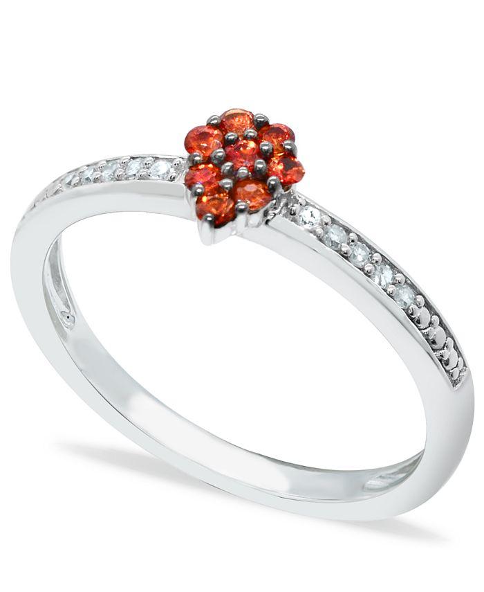Macy's - Orange Sapphire (1/4 ct. t.w.) Diamond (1/20 ct. t.w.) Stackable ring Set in Sterling  Silver