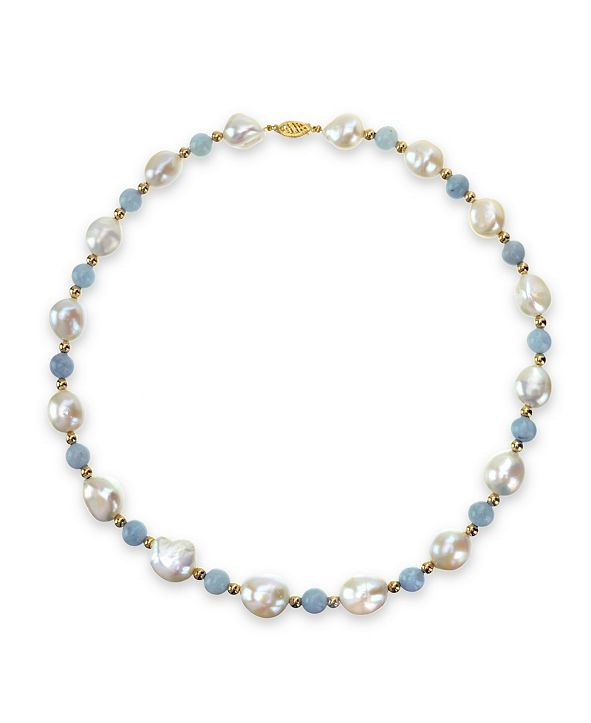 "Macy's White Freshwater Cultured Pear (11-12mm) with Blue Aquamarine (8mm) and Gold Beads (4mm) 18"" Necklace in 14k Yellow Gold"