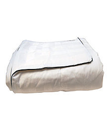 LCM Home Silk-Filled Damask Stripe Cotton Blanket, Full/Queen