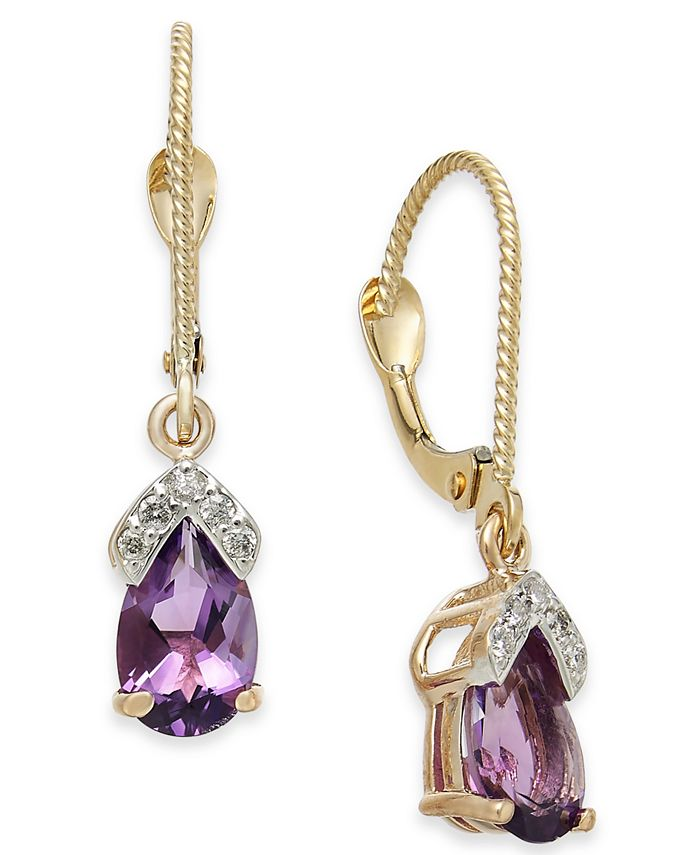 Macy's - Amethyst (1-5/8 ct. t.w.) & Diamond Drop Earrings in 14k Rose Gold