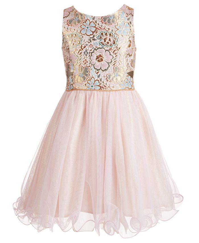 Pink & Violet - Big Girls Brocade & Glitter Mesh Dress