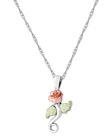 """Rose Pendant 18"""" Necklace in Sterling Silver with 12K Rose and Green Gold"""