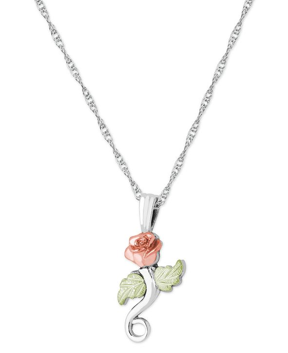 """Black Hills Gold Rose Pendant 18"""" Necklace in Sterling Silver with 12K Rose and Green Gold"""