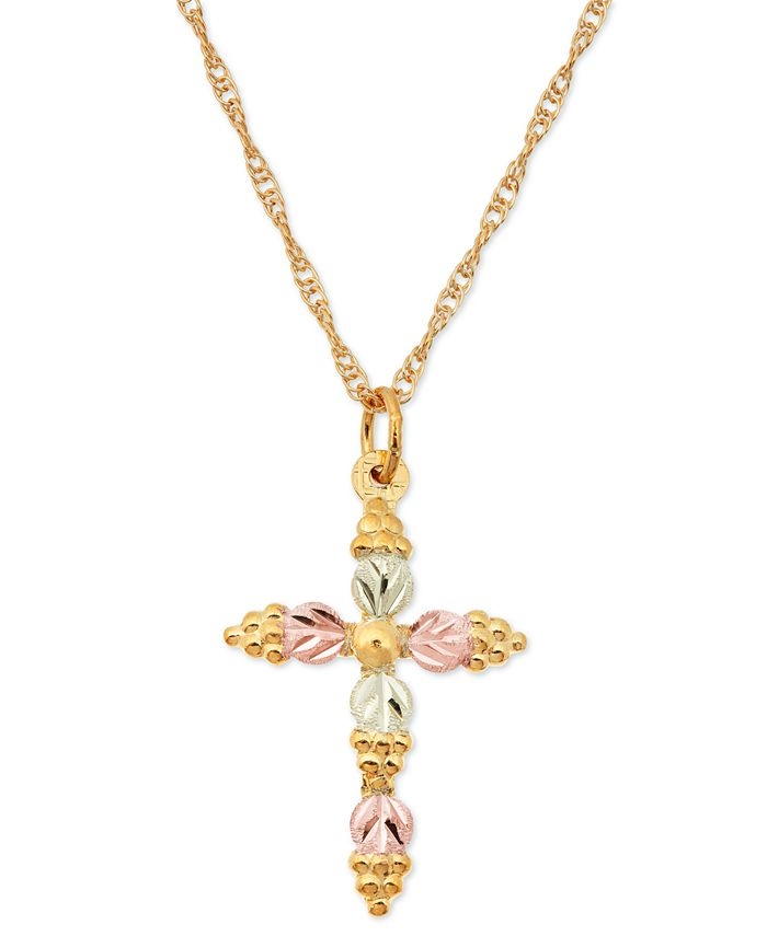 Black Hills Gold - Grape and Leaf Cross Pendant in 10k Yellow Gold with 12k Rose and Green Gold