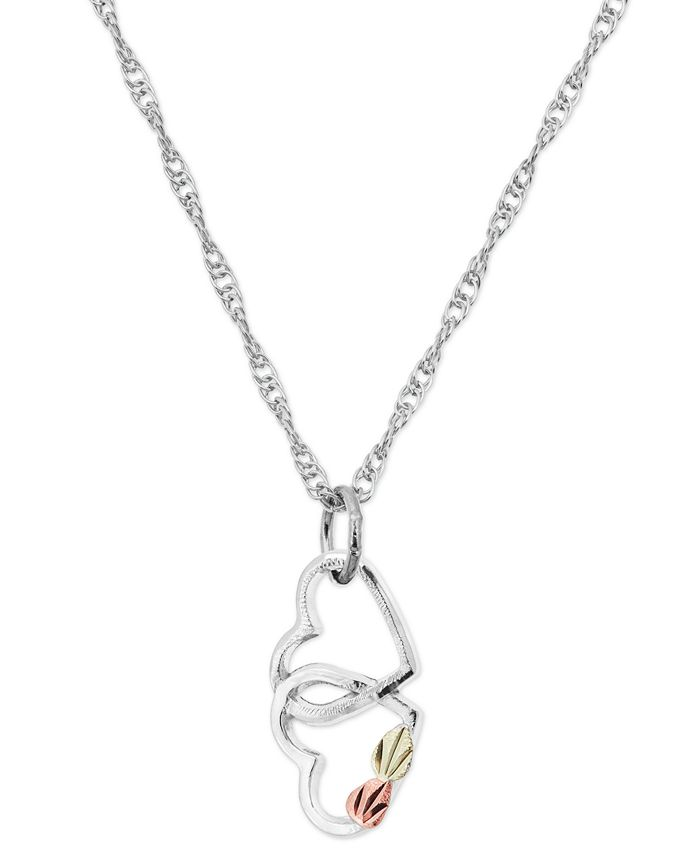 Black Hills Gold - Double Heart Pendant in Sterling Silver with 12K Rose and Green Gold
